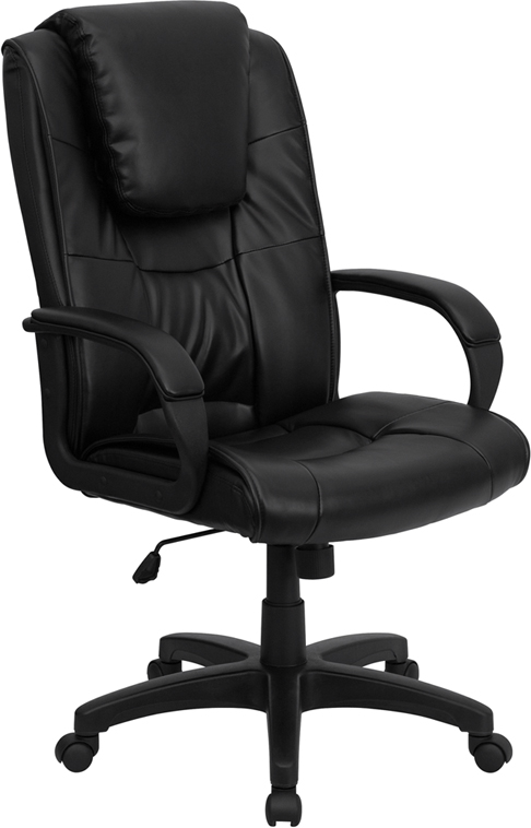 Wholesale High Back Black Leather Executive Swivel Office Chair with Oversized Headrest and Arms