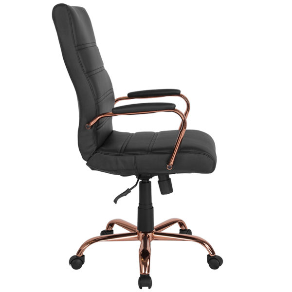 Lowest Price High Back Black Leather Executive Swivel Office Chair with Rose Gold Frame and Arms