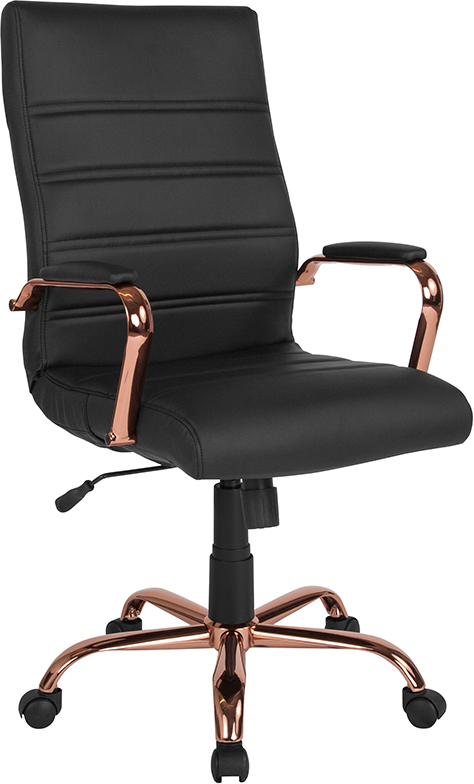 Wholesale High Back Black Leather Executive Swivel Office Chair with Rose Gold Frame and Arms