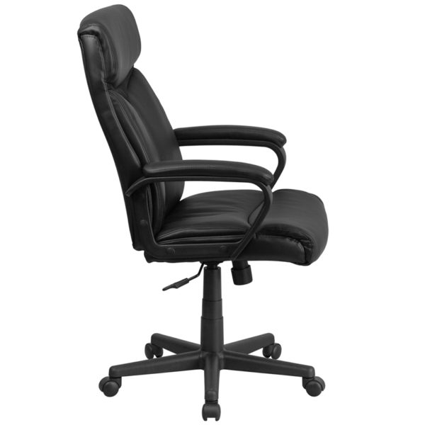 Lowest Price High Back Black Leather Executive Swivel Office Chair with Slight Mesh Accent and Arms