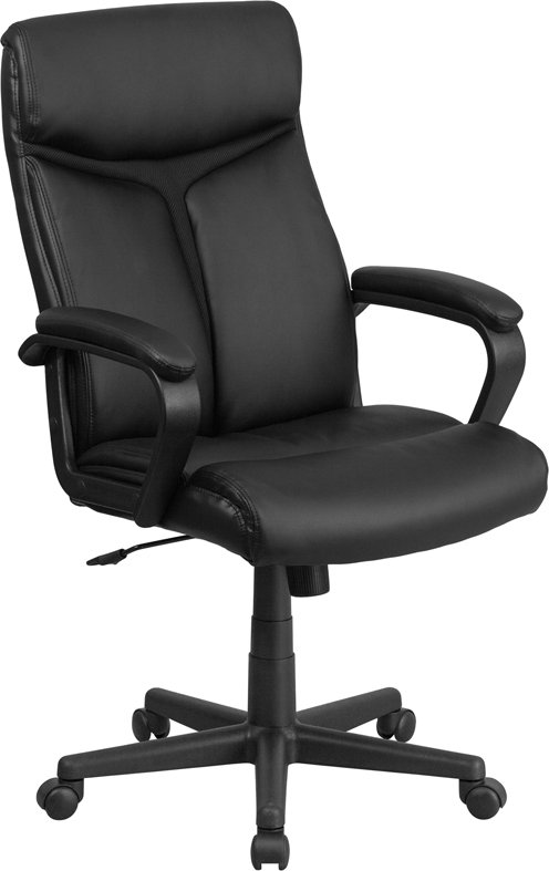 Wholesale High Back Black Leather Executive Swivel Office Chair with Slight Mesh Accent and Arms
