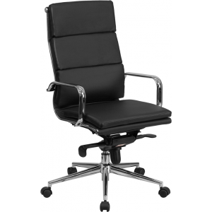 Wholesale High Back Black Leather Executive Swivel Office Chair with Synchro-Tilt Mechanism and Arms