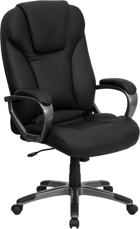 Wholesale High Back Black Leather Executive Swivel Office Chair with Titanium Nylon Base and Arms