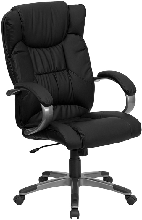 Wholesale High Back Black Leather Executive Swivel Office Chair with Titanium Nylon Base and Loop Arms