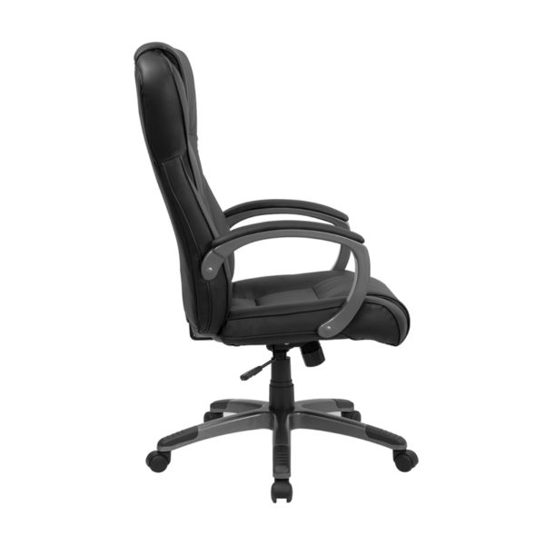 Lowest Price High Back Black Leather Executive Swivel Office Chair with Titanium Nylon Base and Loop Arms