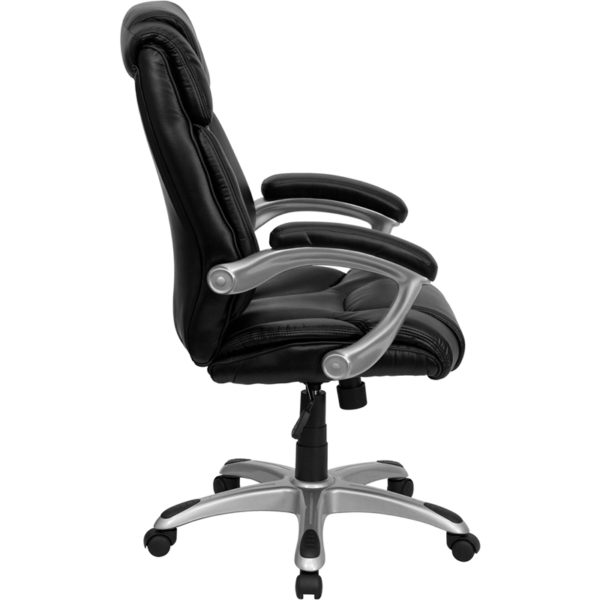 Lowest Price High Back Black Leather Layered Upholstered Executive Swivel Ergonomic Office Chair with Silver Nylon Base and Arms