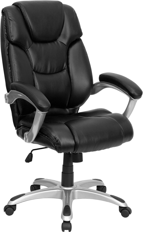 Wholesale High Back Black Leather Layered Upholstered Executive Swivel Ergonomic Office Chair with Silver Nylon Base and Arms