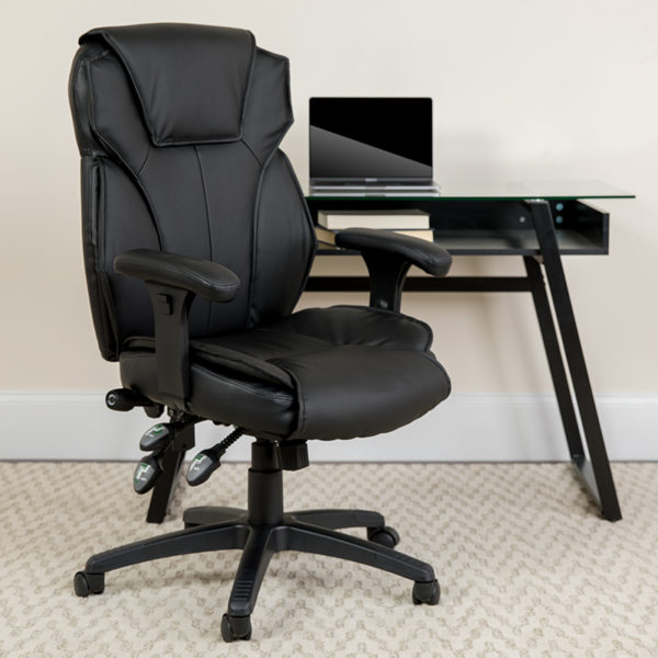 Lowest Price High Back Black Leather Multifunction Executive Swivel Ergonomic Office Chair with Lumbar Support Knob with Arms