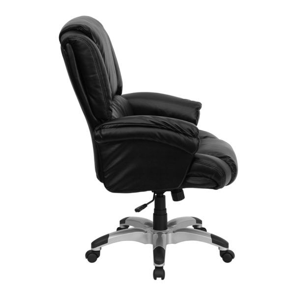 Lowest Price High Back Black Leather OverStuffed Executive Swivel Ergonomic Office Chair with Fully Upholstered Arms