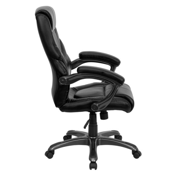 Lowest Price High Back Black Leather Overstuffed Executive Swivel Ergonomic Office Chair with Arms