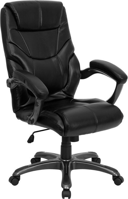 Wholesale High Back Black Leather Overstuffed Executive Swivel Ergonomic Office Chair with Arms
