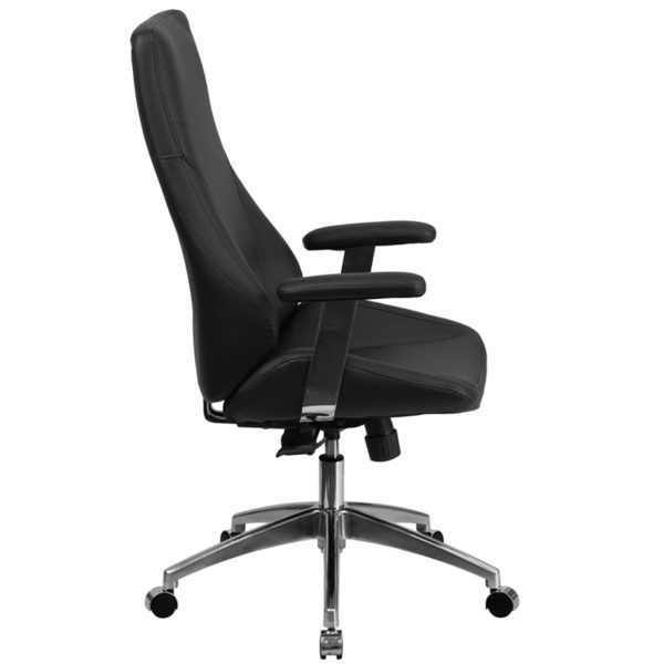 Lowest Price High Back Black Leather Smooth Upholstered Executive Swivel Office Chair with Arms