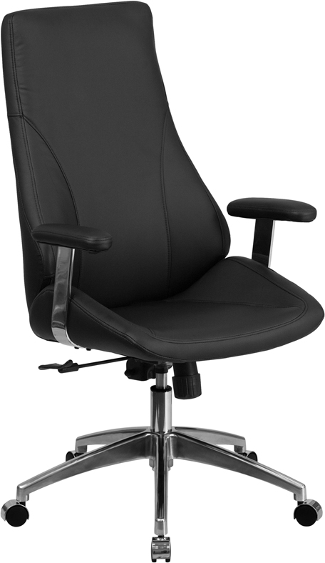 Wholesale High Back Black Leather Smooth Upholstered Executive Swivel Office Chair with Arms