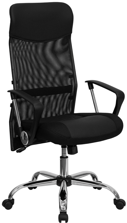 Wholesale High Back Black Leather and Mesh Swivel Task Office Chair with Arms