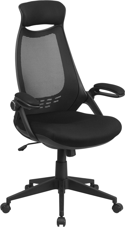 Wholesale High Back Black Mesh Executive Swivel Office Chair with Flip-Up Arms