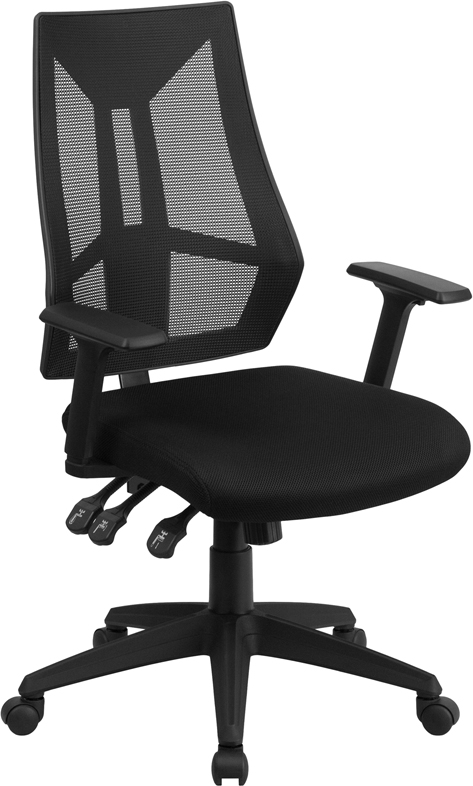 Wholesale High Back Black Mesh Multifunction Swivel Ergonomic Task Office Chair with Adjustable Arms