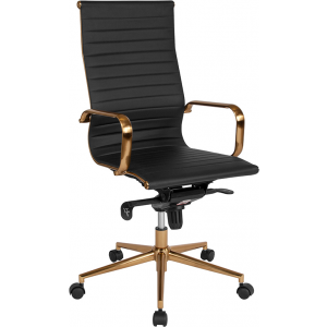 Wholesale High Back Black Ribbed Leather Executive Swivel Office Chair with Gold Frame