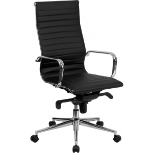 Wholesale High Back Black Ribbed Leather Executive Swivel Office Chair with Knee-Tilt Control and Arms
