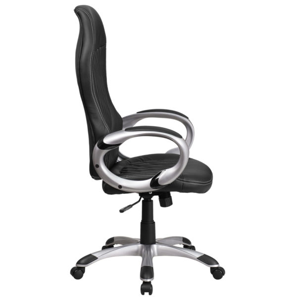 Lowest Price High Back Black Vinyl Executive Swivel Office Chair with Arms