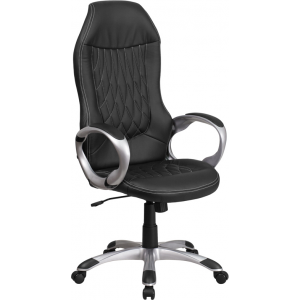 Wholesale High Back Black Vinyl Executive Swivel Office Chair with Arms