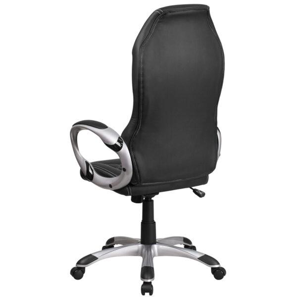 Contemporary Office Chair Black High Back Vinyl Chair