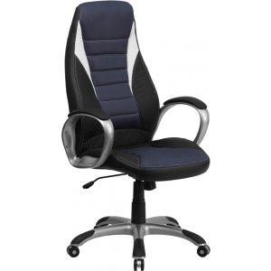 Wholesale High Back Black Vinyl Executive Swivel Office Chair with Blue Mesh Inserts and Arms