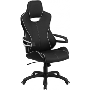 Wholesale High Back Black Vinyl Executive Swivel Office Chair with White Trim and Arms