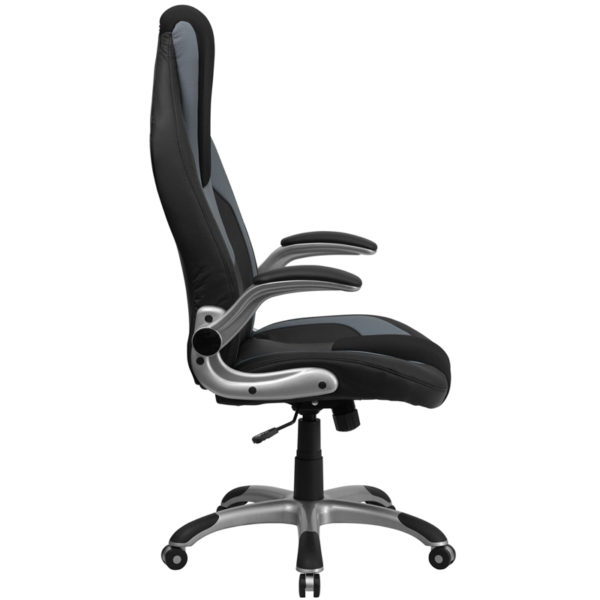 Lowest Price High Back Black and Gray Vinyl Executive Swivel Ergonomic Office Chair with Black Mesh Insets and Flip-Up Arms