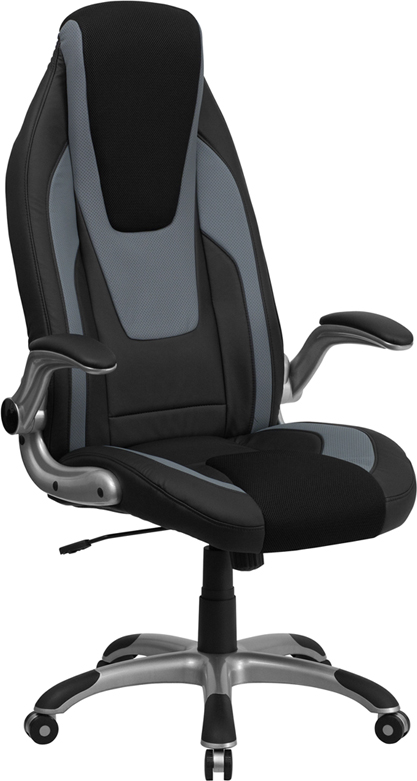 Wholesale High Back Black and Gray Vinyl Executive Swivel Ergonomic Office Chair with Black Mesh Insets and Flip-Up Arms