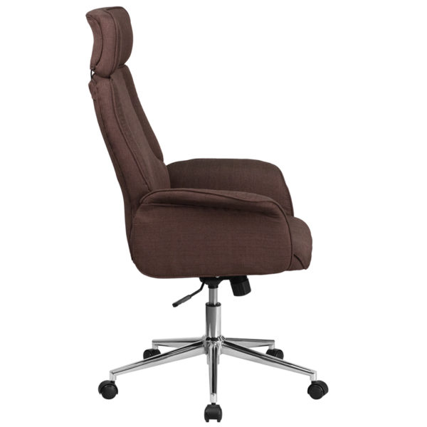 Lowest Price High Back Brown Fabric Executive Swivel Office Chair with Chrome Base and Fully Upholstered Arms