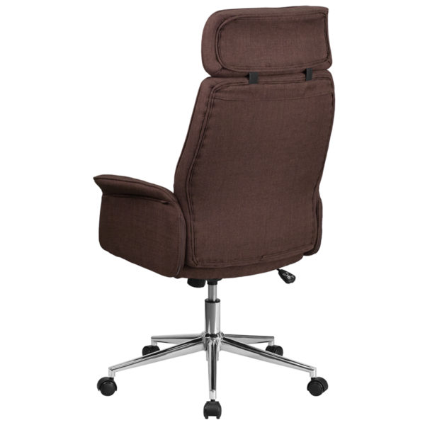 Contemporary Office Chair Brown High Back Fabric Chair