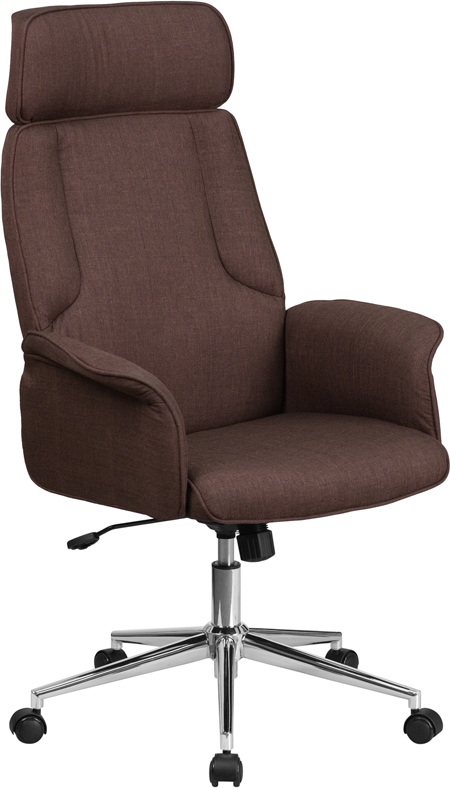 Wholesale High Back Brown Fabric Executive Swivel Office Chair with Chrome Base and Fully Upholstered Arms