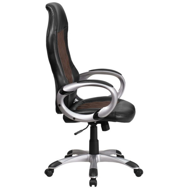 Lowest Price High Back Brown Fabric and Black Vinyl Executive Swivel Office Chair with Arms