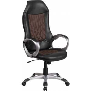 Wholesale High Back Brown Fabric and Black Vinyl Executive Swivel Office Chair with Arms