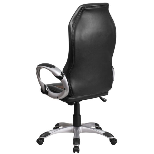 Contemporary Office Chair Black/Brown High Back Chair