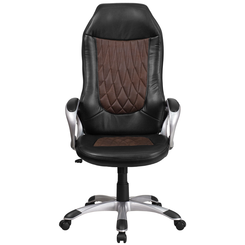 High Back Brown Fabric And Black Vinyl Executive Swivel Office Chair With Arms Restaurant Furniture Org