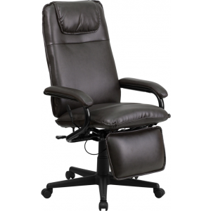 Wholesale High Back Brown Leather Executive Reclining Ergonomic Swivel Office Chair with Arms