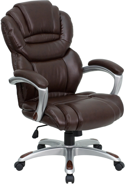 Wholesale High Back Brown Leather Executive Swivel Ergonomic Office Chair with Arms