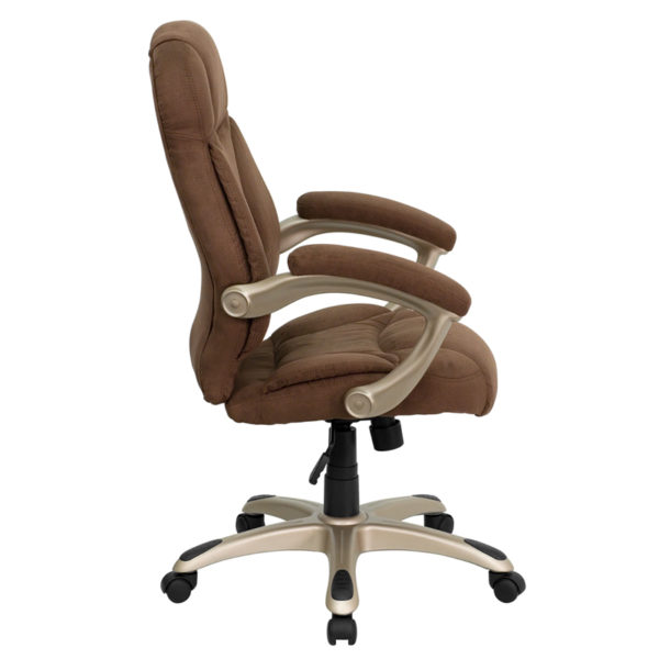 Lowest Price High Back Brown Microfiber Contemporary Executive Swivel Ergonomic Office Chair with Arms