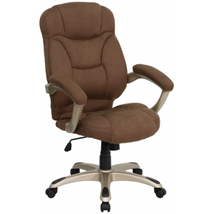 Wholesale High Back Brown Microfiber Contemporary Executive Swivel Ergonomic Office Chair with Arms