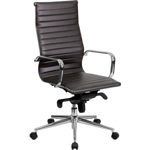 Wholesale High Back Brown Ribbed Leather Executive Swivel Office Chair with Knee-Tilt Control and Arms