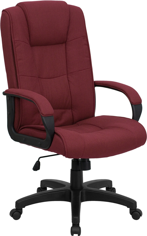 Wholesale High Back Burgundy Fabric Executive Swivel Office Chair with Arms