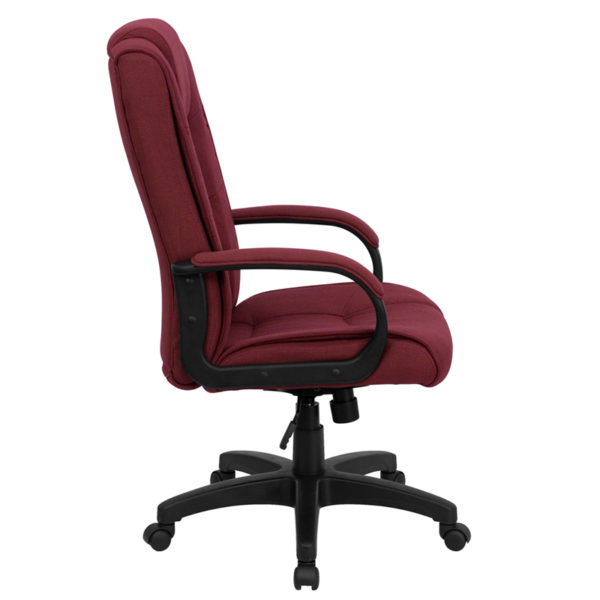 Lowest Price High Back Burgundy Fabric Executive Swivel Office Chair with Arms