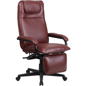 Wholesale High Back Burgundy Leather Executive Reclining Ergonomic Swivel Office Chair with Arms
