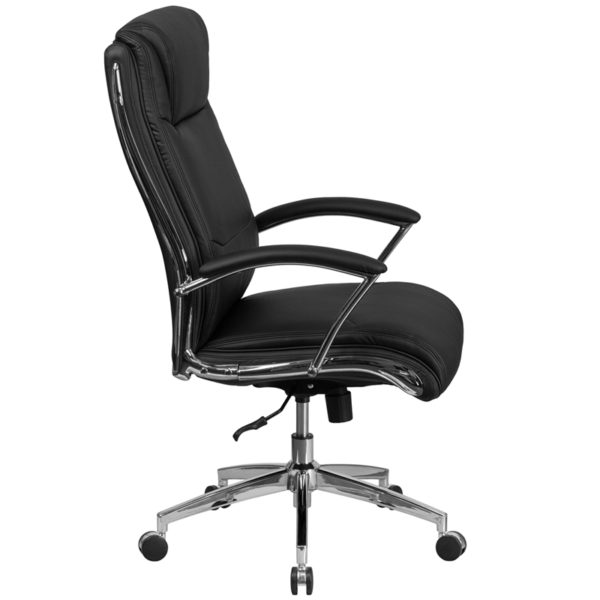 Lowest Price High Back Designer Black Leather Smooth Upholstered Executive Swivel Office Chair with Chrome Base and Arms