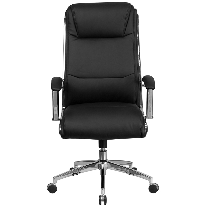 High Back Designer Black Leather Smooth Upholstered Executive Swivel Office Chair With Chrome Base And Arms Restaurant Furniture Org