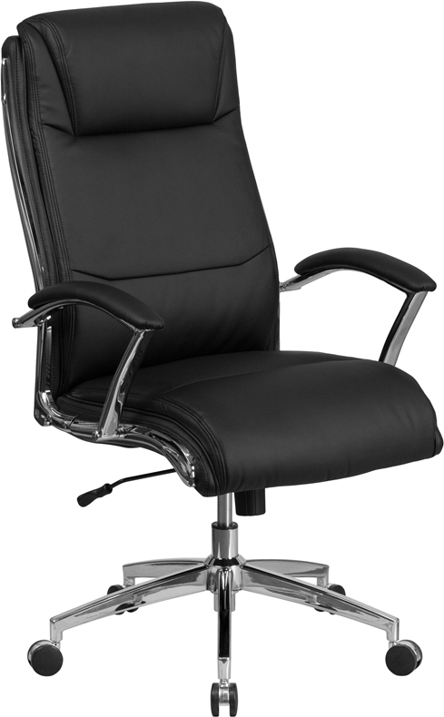 Wholesale High Back Designer Black Leather Smooth Upholstered Executive Swivel Office Chair with Chrome Base and Arms