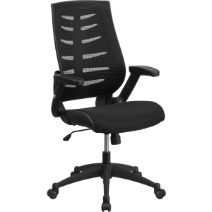 Wholesale High Back Designer Black Mesh Executive Swivel Ergonomic Office Chair with Height Adjustable Flip-Up Arms
