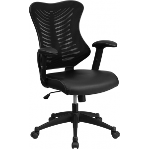 Wholesale High Back Designer Black Mesh Executive Swivel Ergonomic Office Chair with Leather Seat and Adjustable Arms
