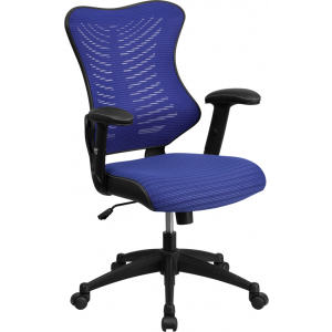 Wholesale High Back Designer Blue Mesh Executive Swivel Ergonomic Office Chair with Adjustable Arms